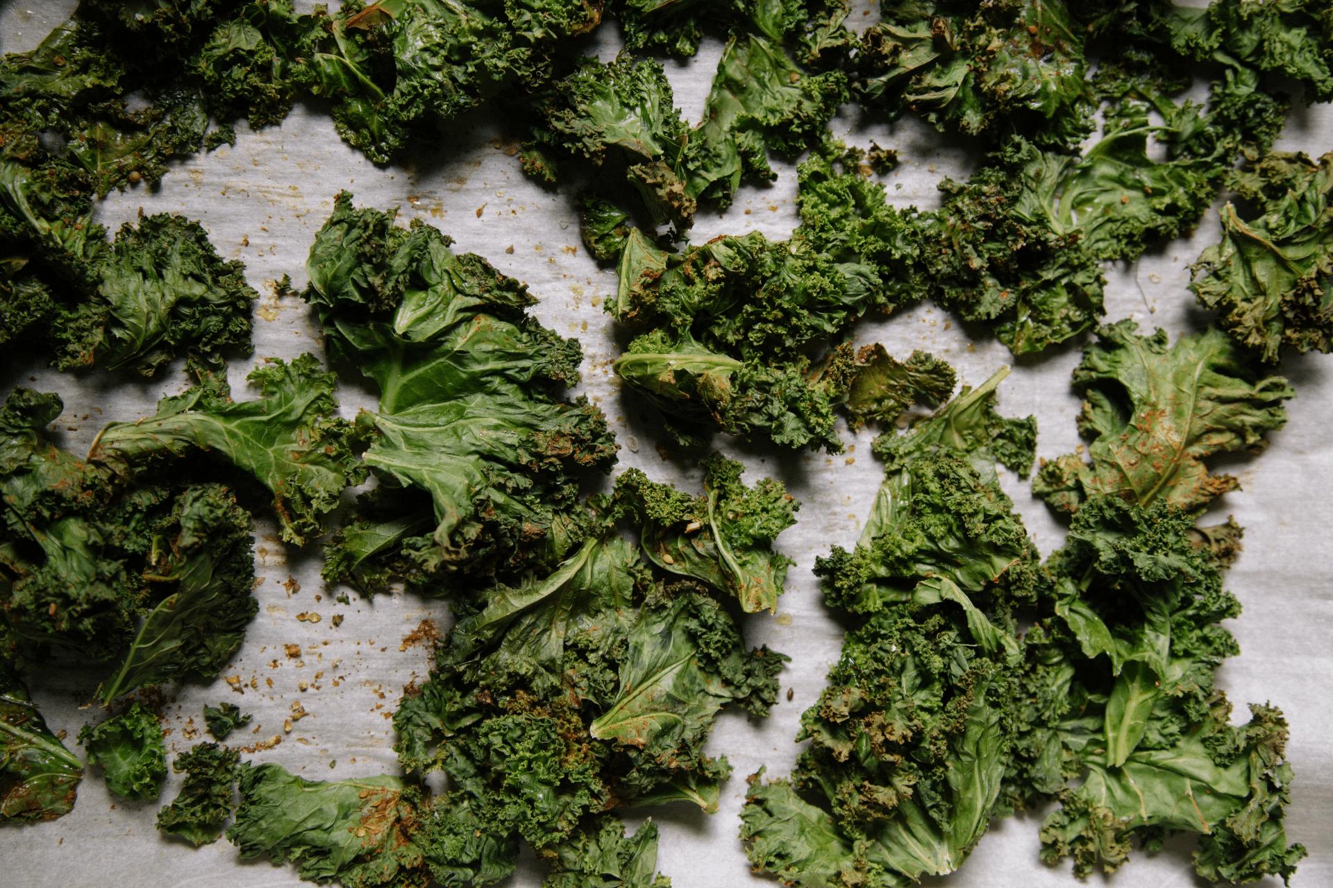 baking sheet with roasted kale