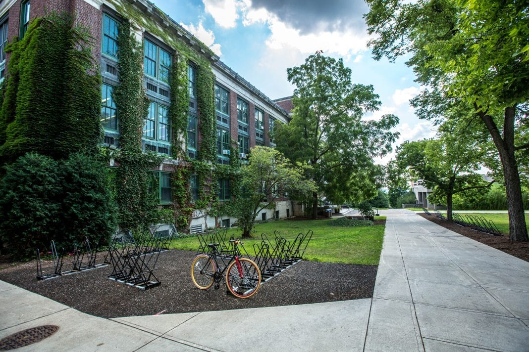 Exterior of a school with vines growing up the bricks, bike racks are on the lawn