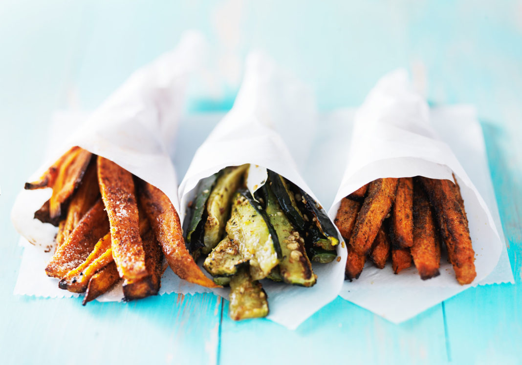 trio of carrot, zucchini, and sweet potato fries