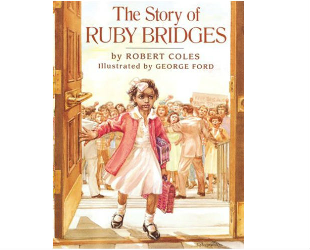 book cover of a little girl going into a school called The Story of Ruby Bridges