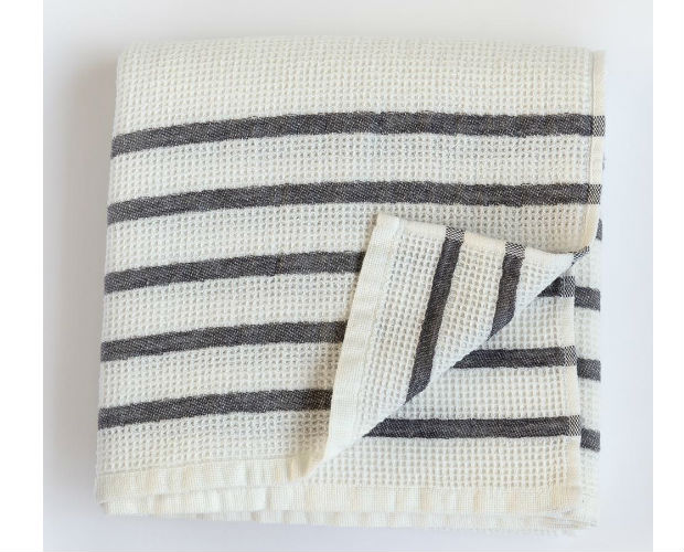 waffle towel with grey stripes