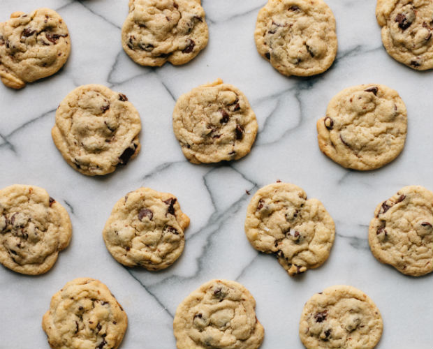 homemade chocolate chip cookies on a marble counter