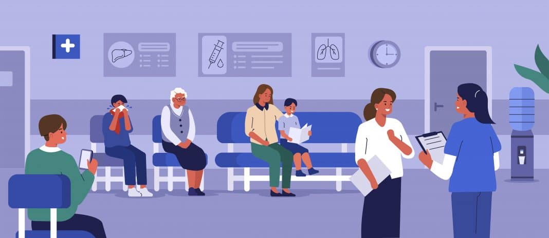 illustration of people in a hospital waiting room