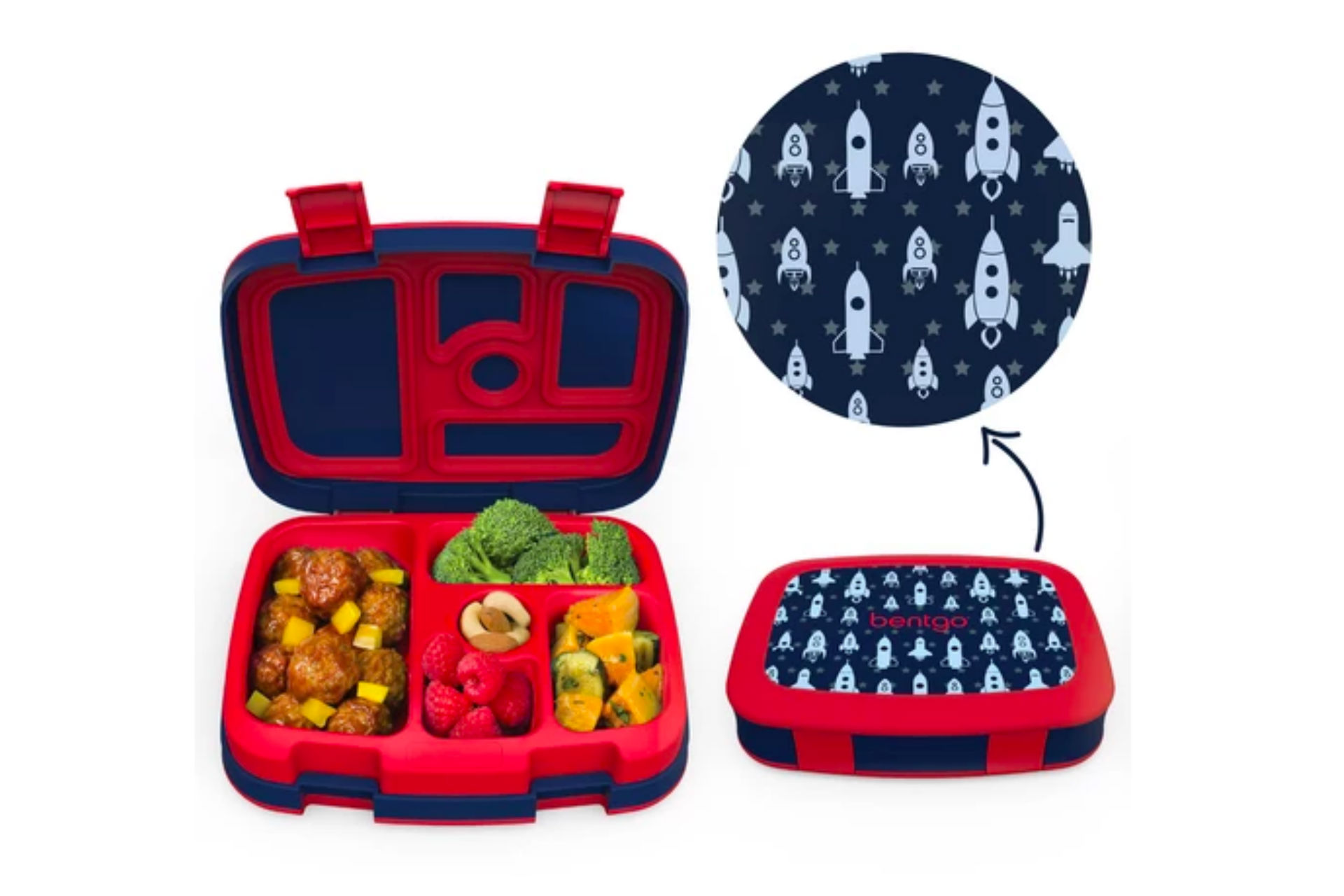 blue and red bento box with rocket ship decal