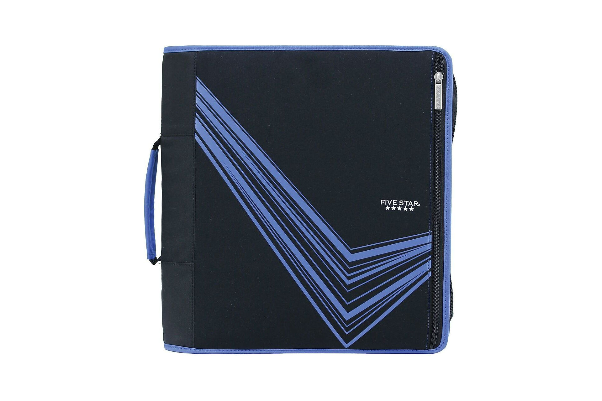 black and purple soft-cover zip-up binder