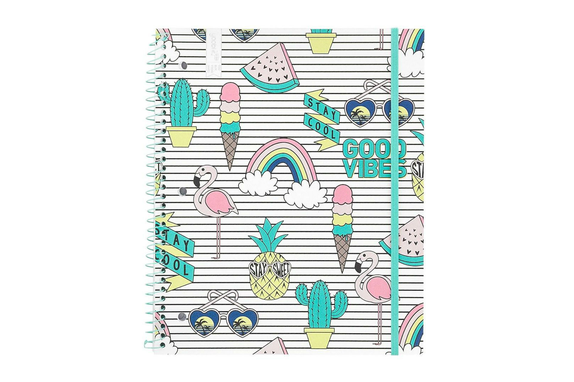 notebook with cactus, ice cream and flamingo decals