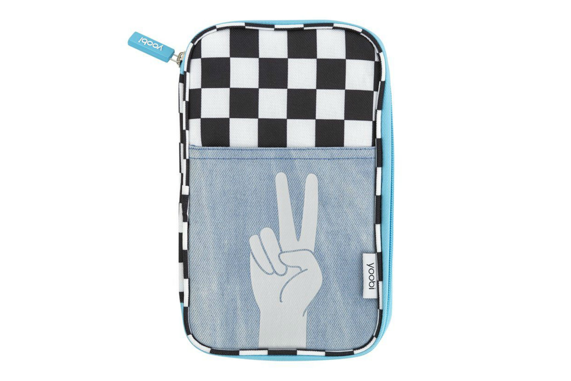 pencil case with a hand giving the peace sign