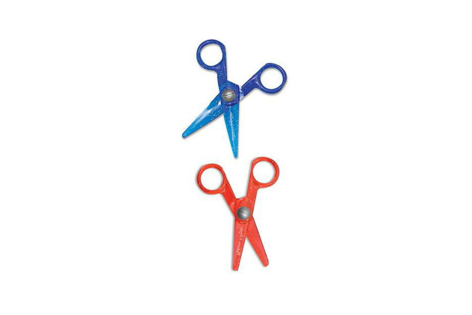 pair of blue and red children's scissors