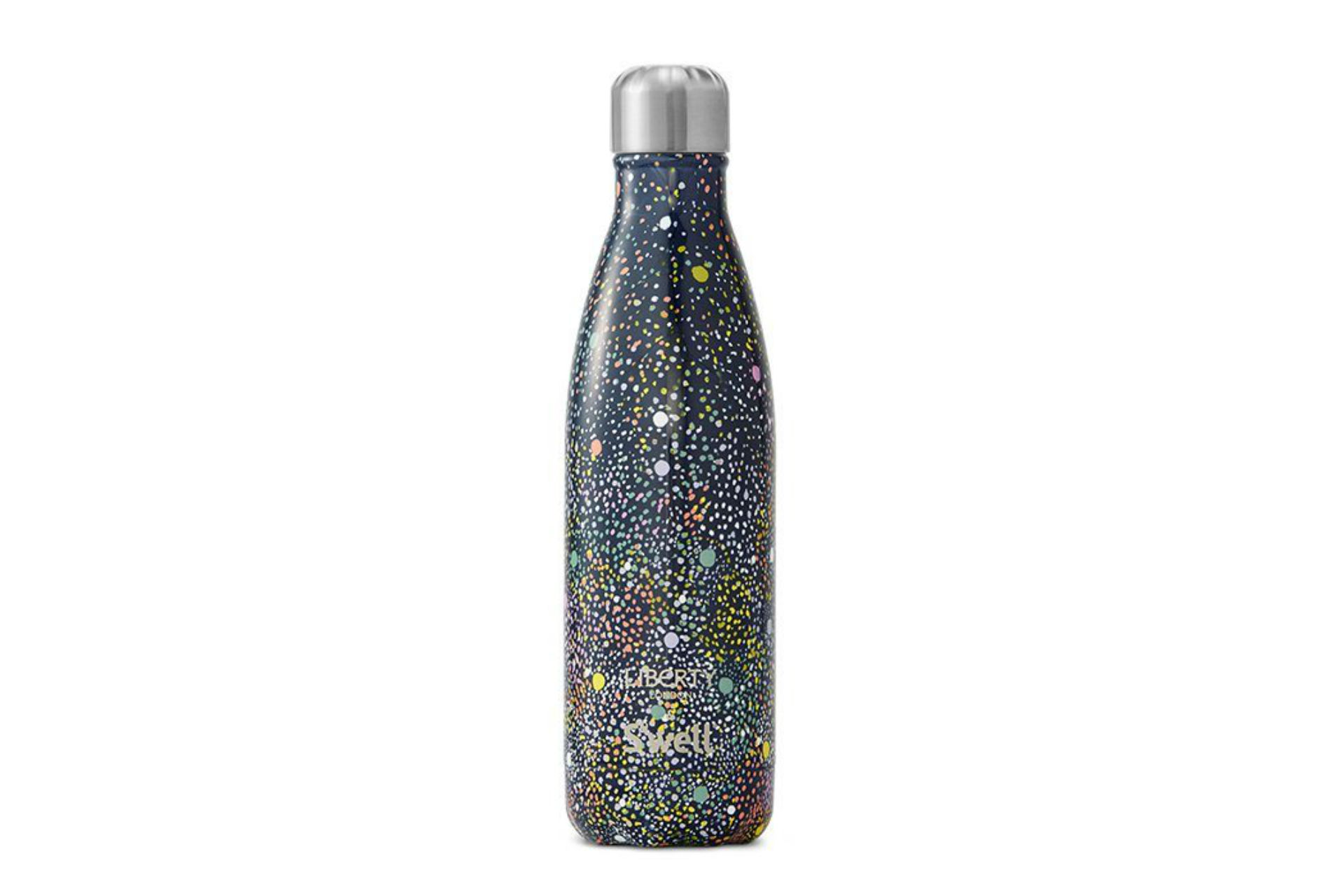 black metal water bottle with dots all over it