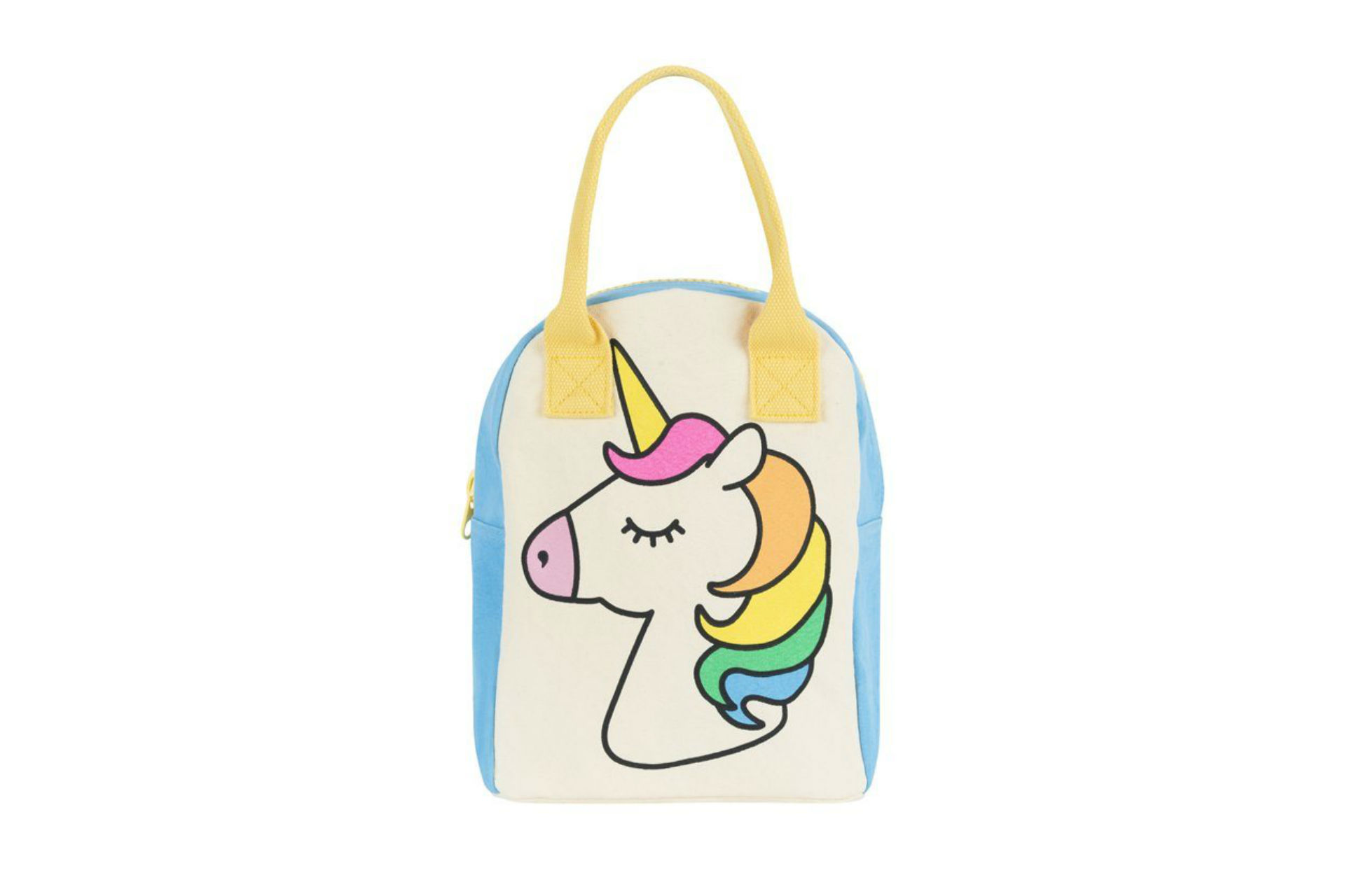 unicorn lunch bag with yellow handle