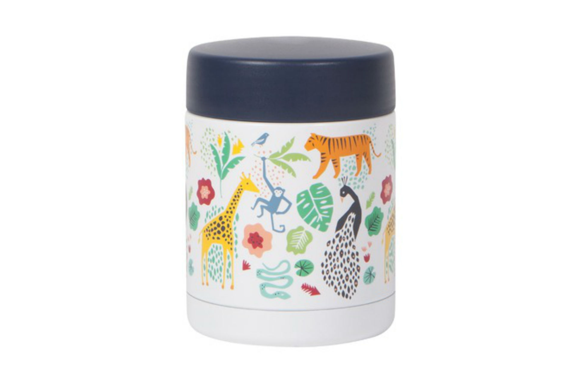 thermos with wild animal illustrations on it