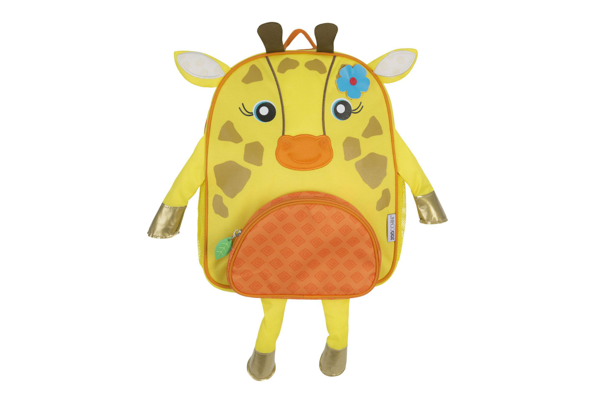 yellow giraffe-shaped backpack with arms and legs