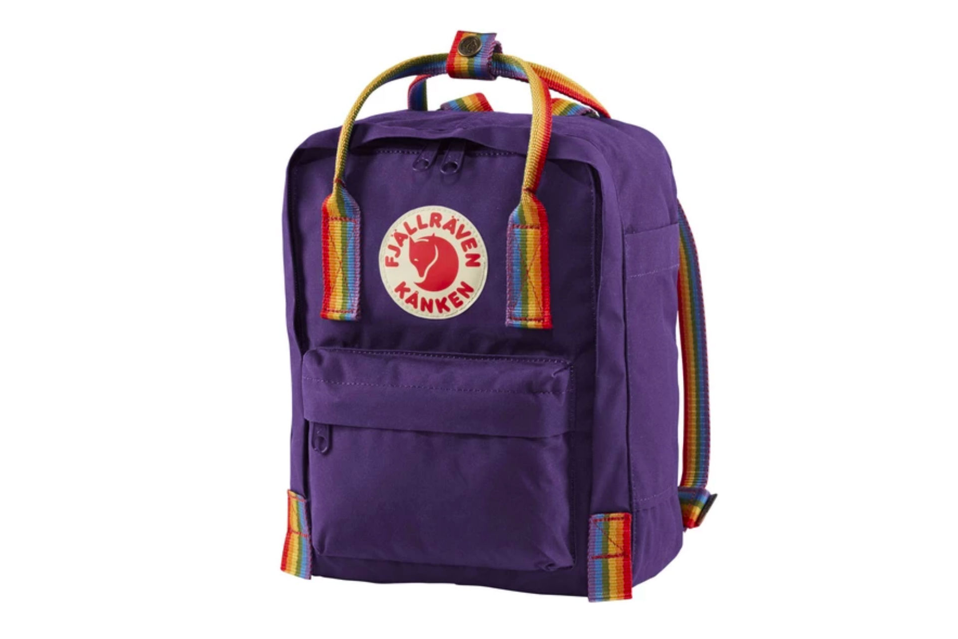 purple backpack with rainbow straps