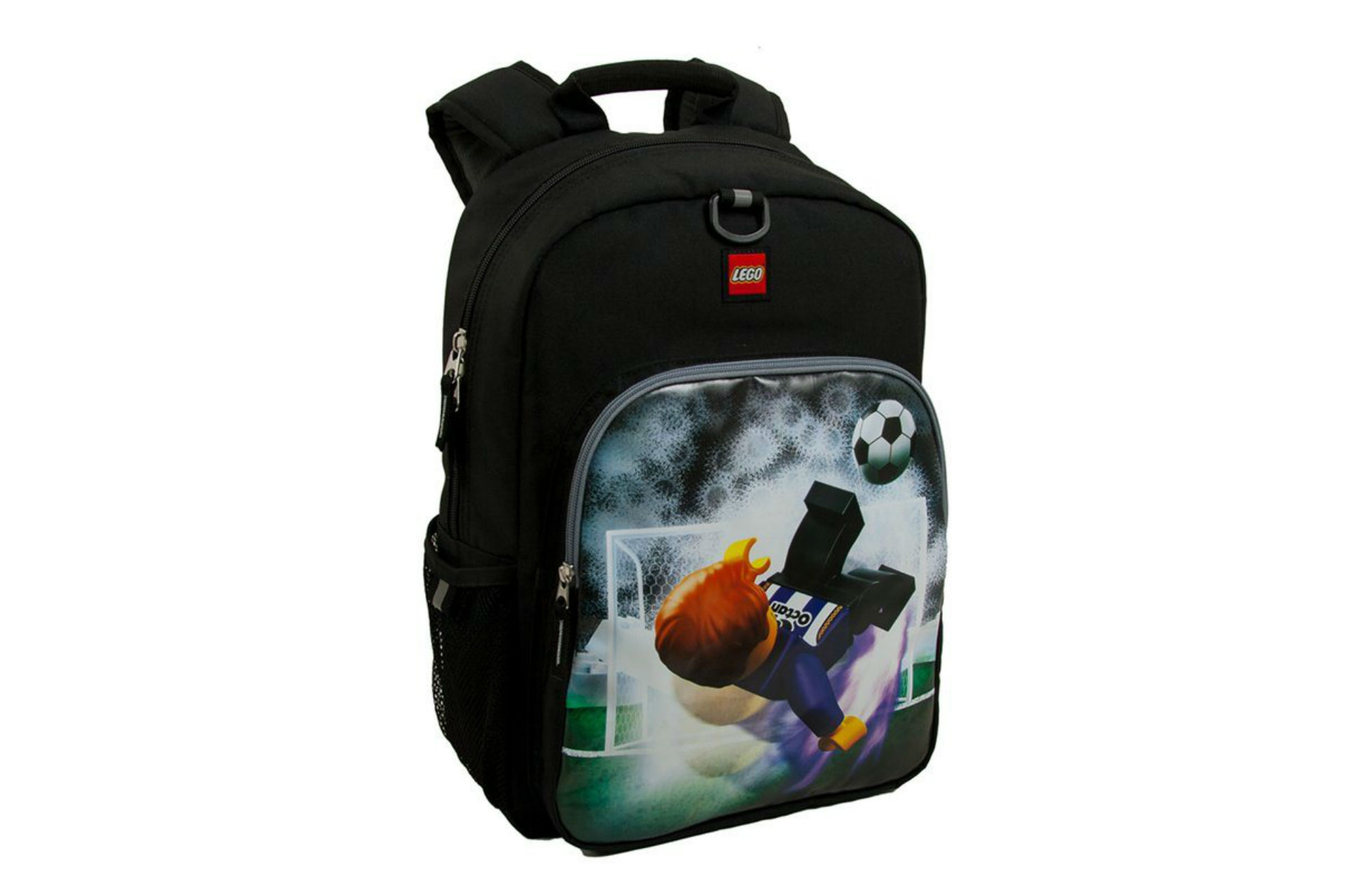 black backpack with lego kicking a soccer ball