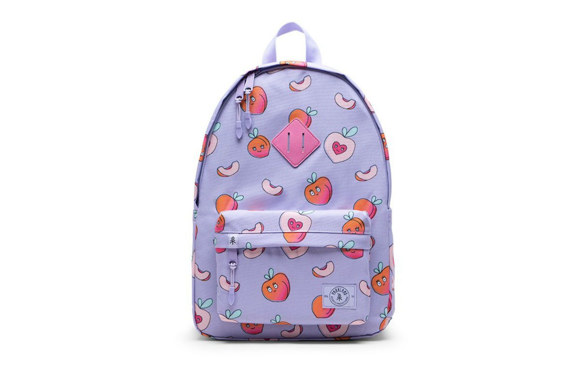 pink backpack with peach illustrations all over