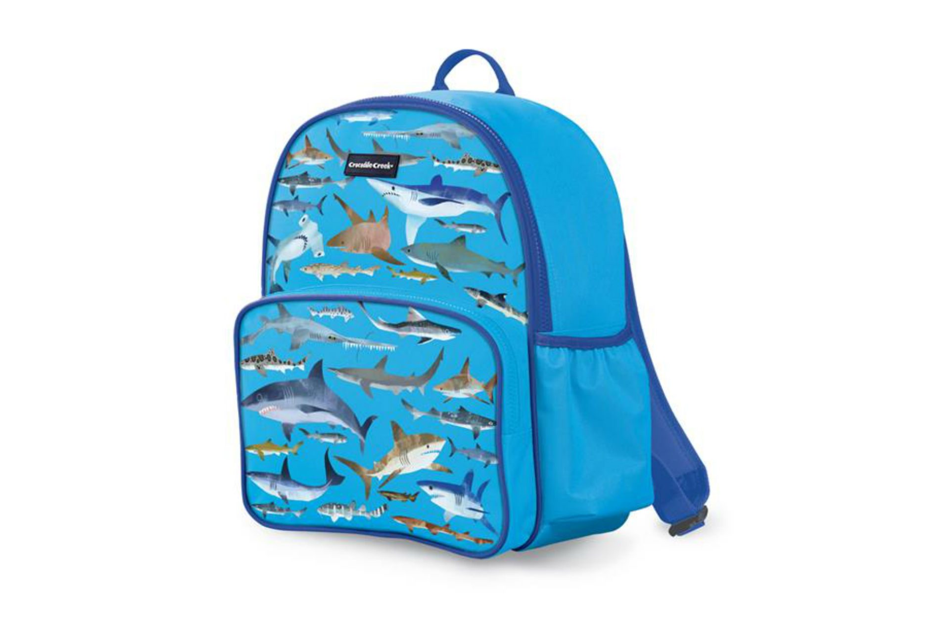 blue backpack with sharks on it