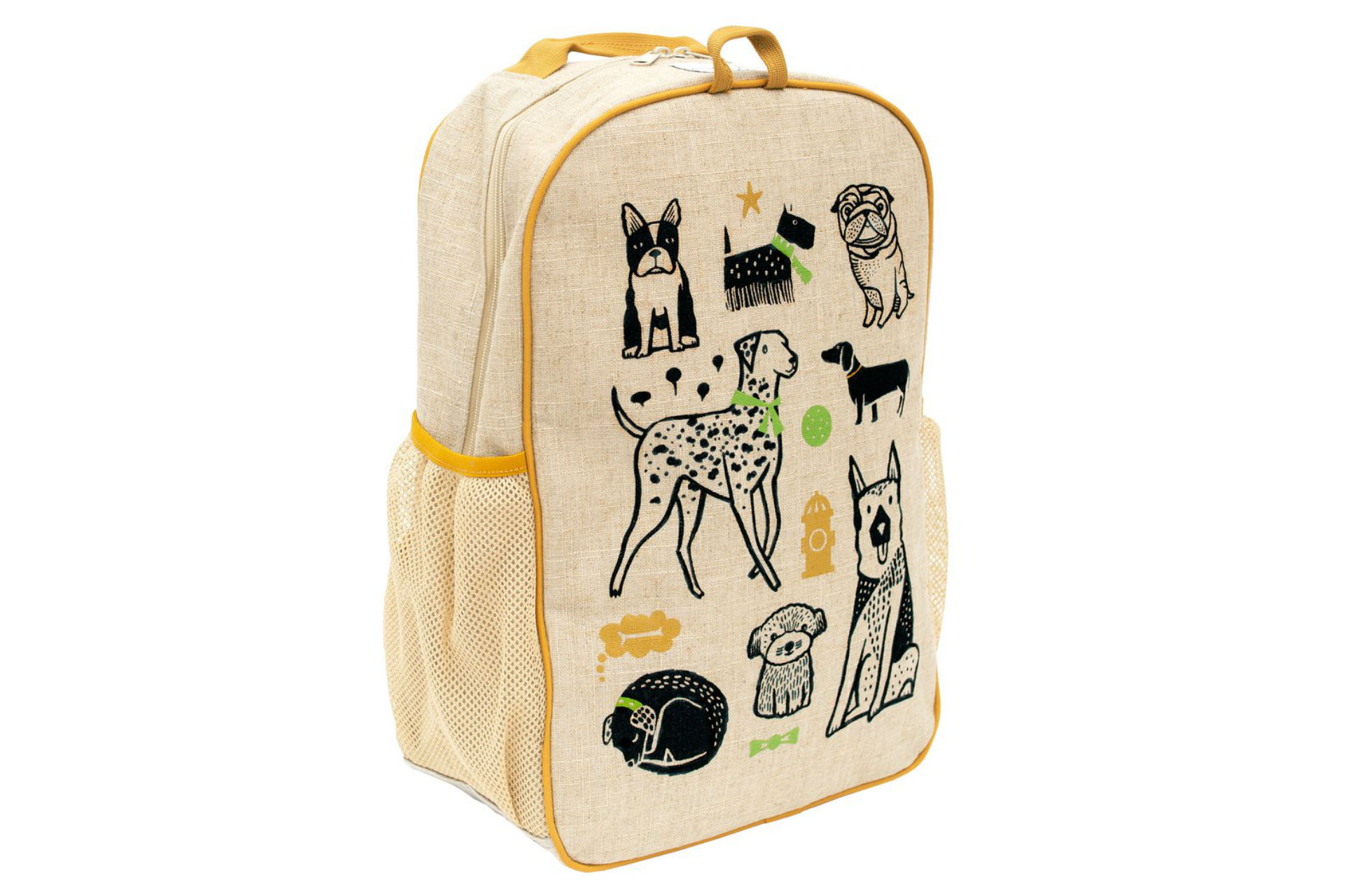 linen backpack with dogs printed on it