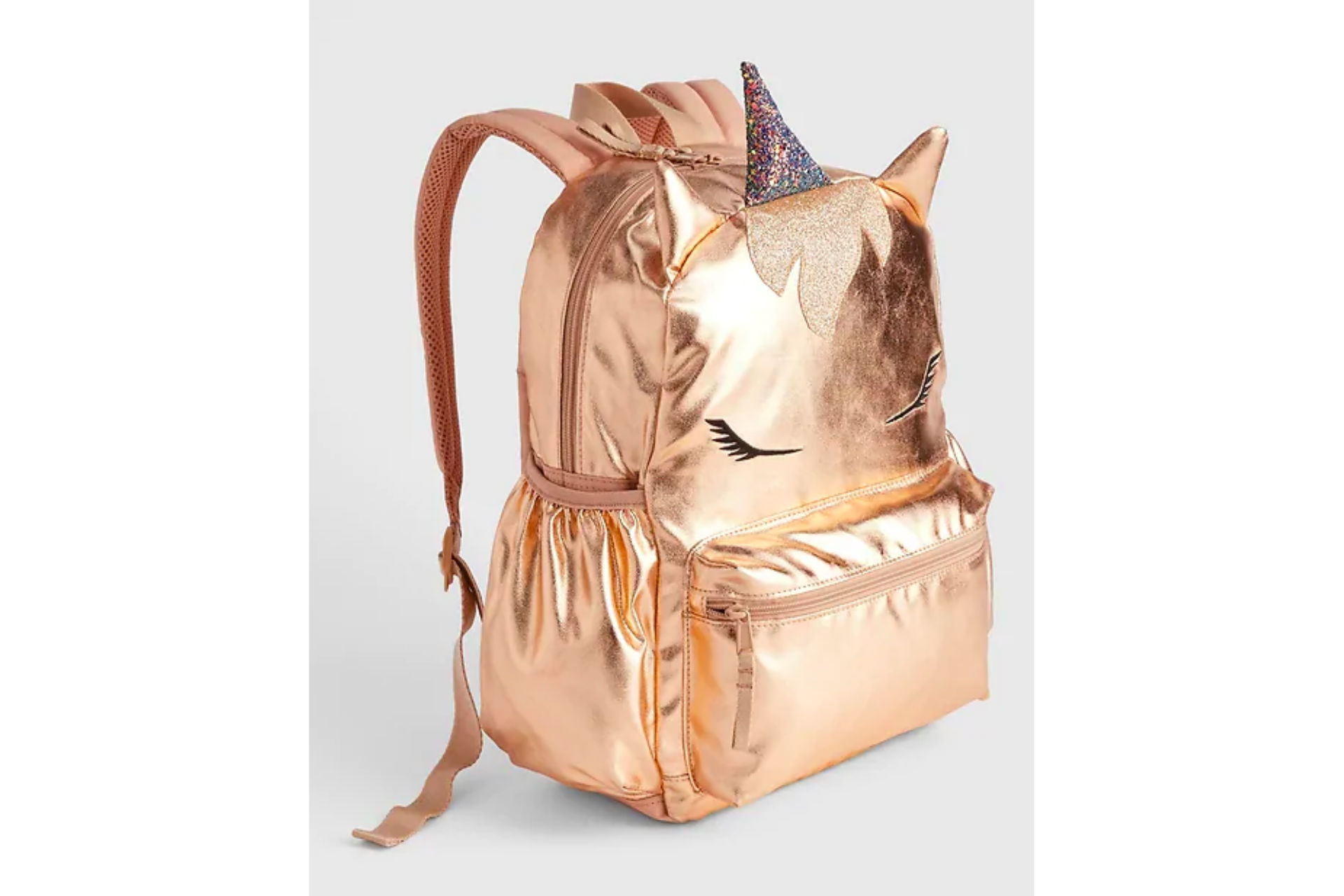 metallic gold backpack with unicorn face and horn