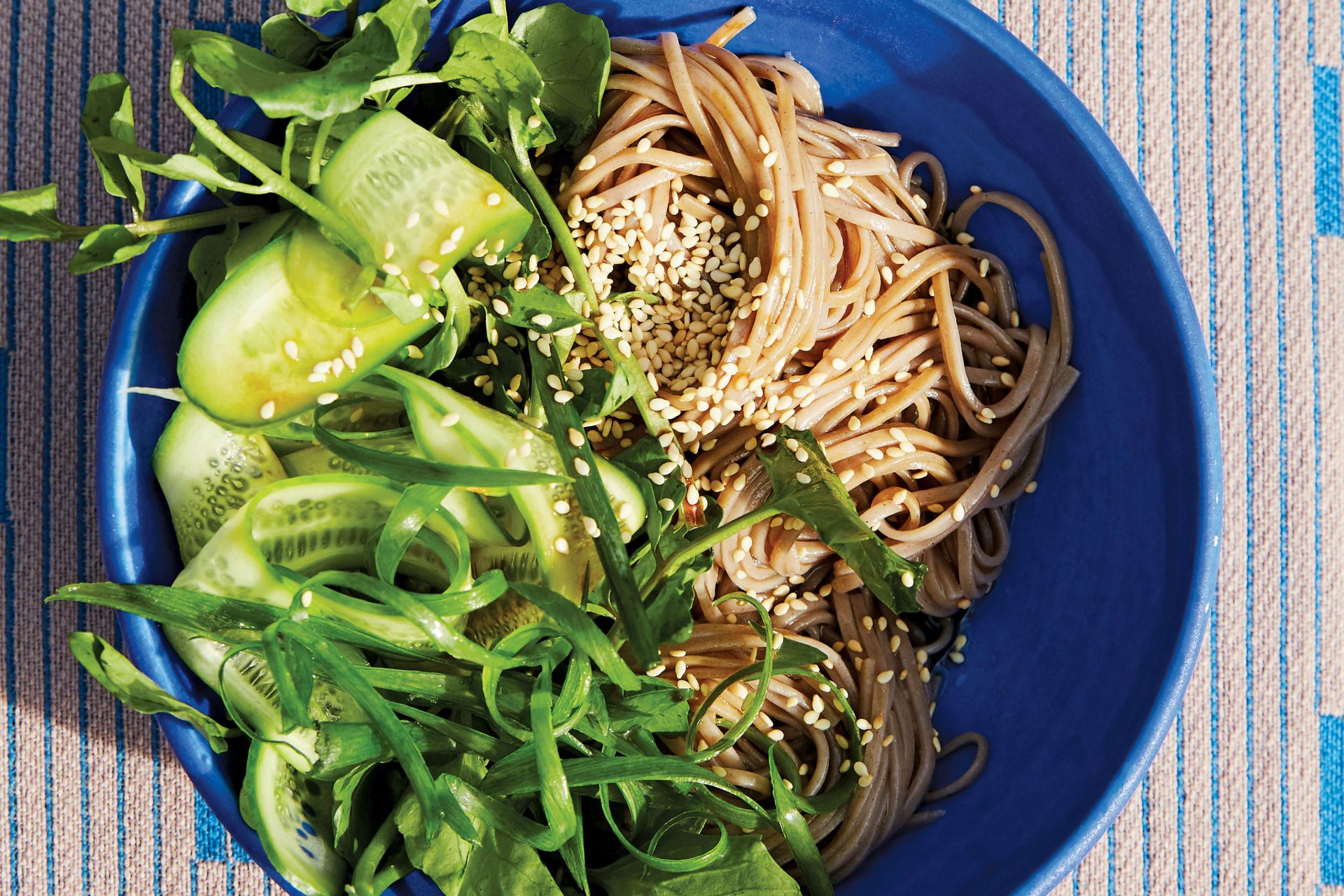bowl of soba noodles with cucumber