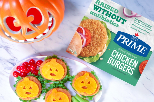 Jack-O-Cheese Chicken Burgers