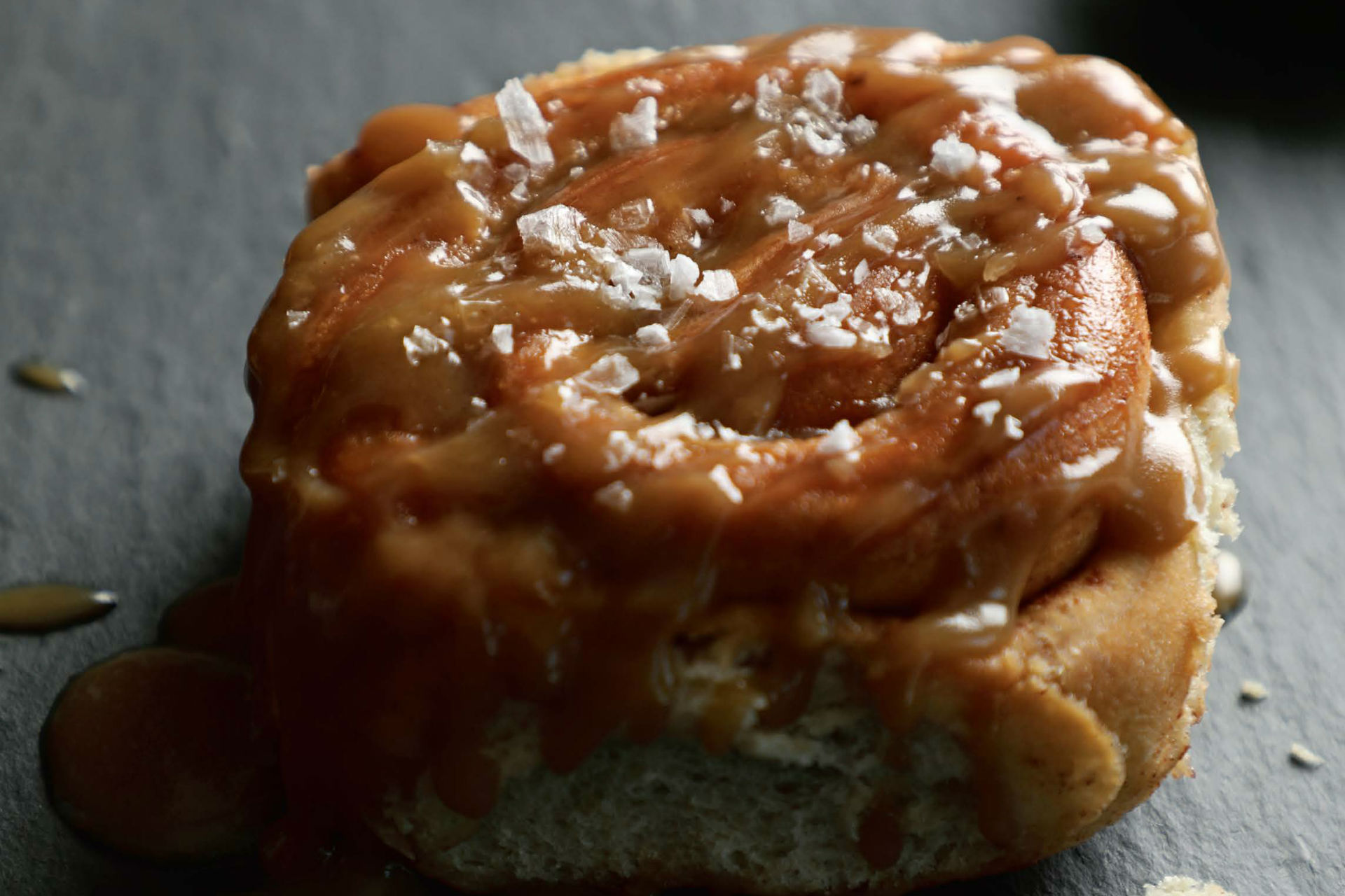 cinnamon bun with salted caramel