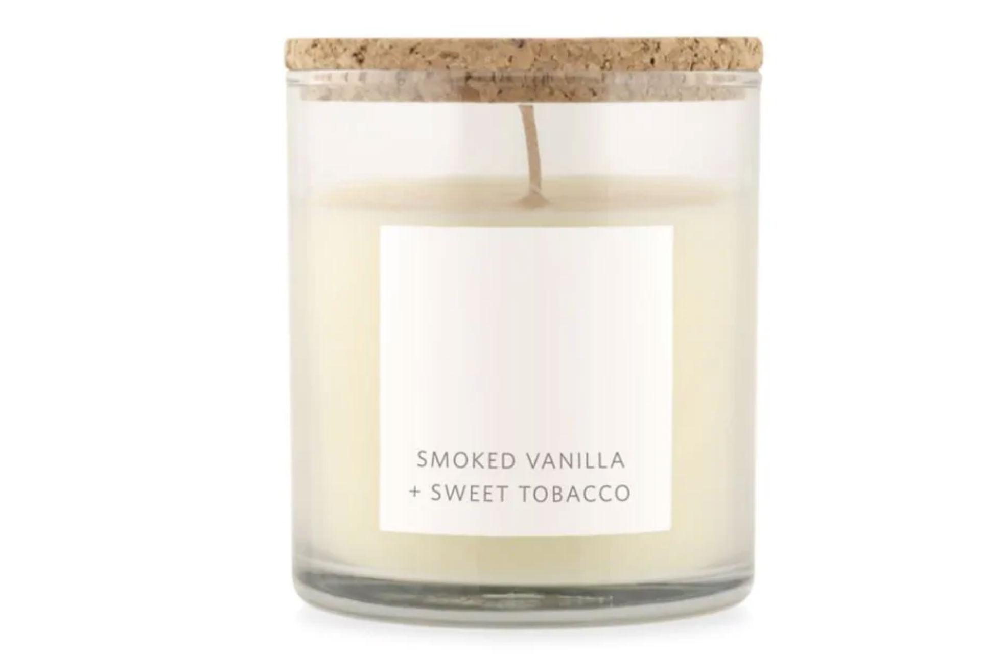 Smoked vanilla and sweet tobacco glass candle