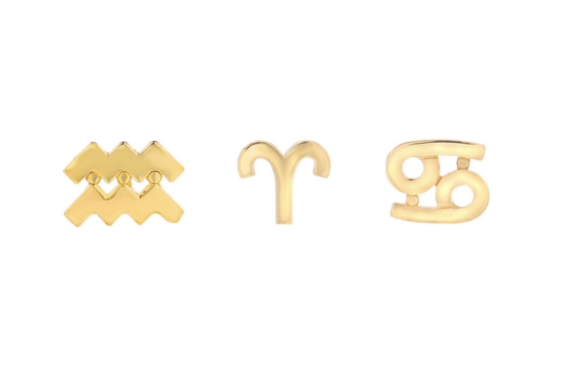 14k fine gold zodiac post single earring