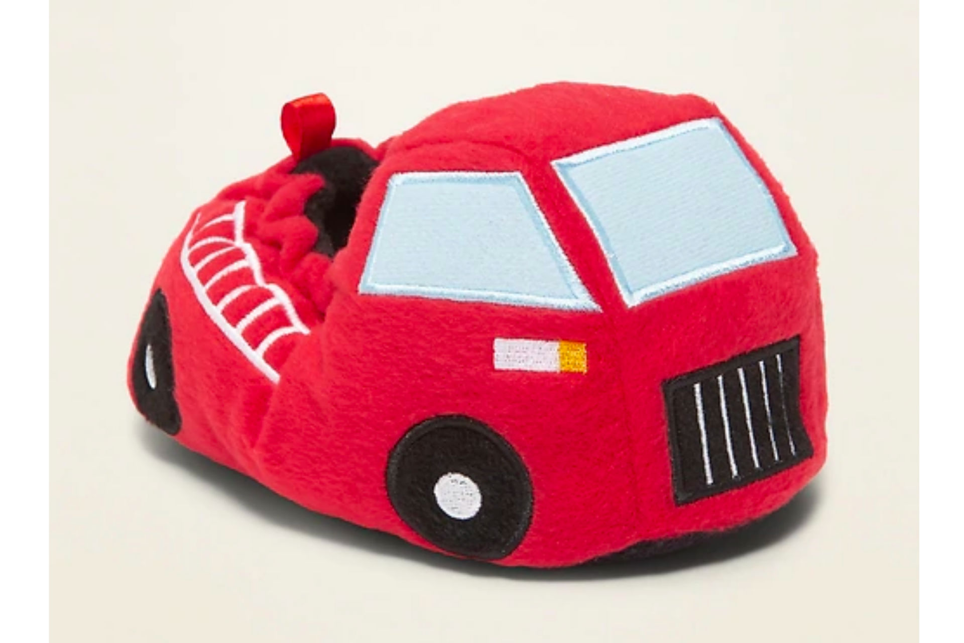 Plush fire truck slippers