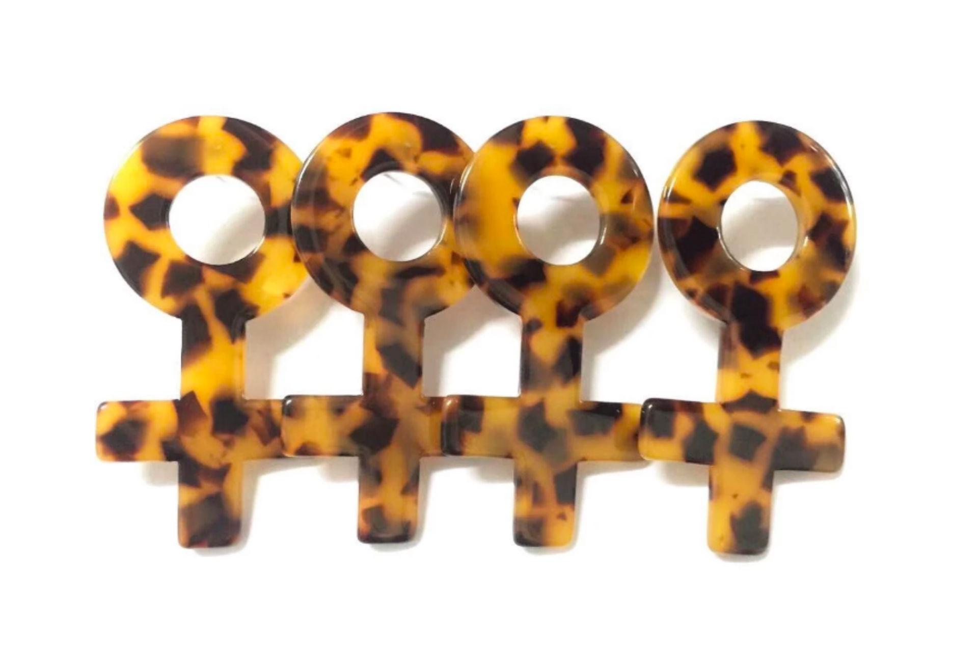 Tortoise feminist earrings