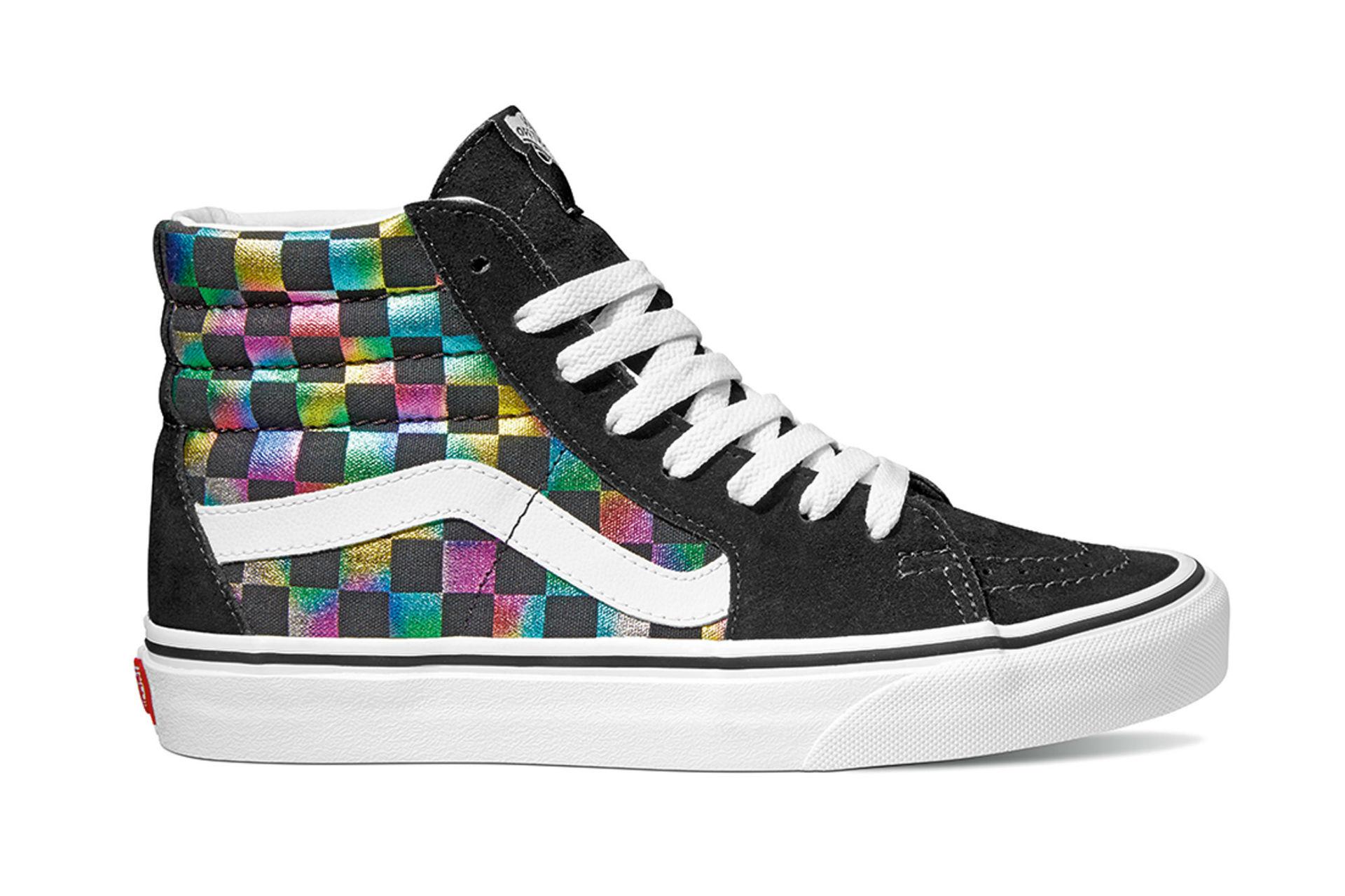 checkerboard hightop sneakers