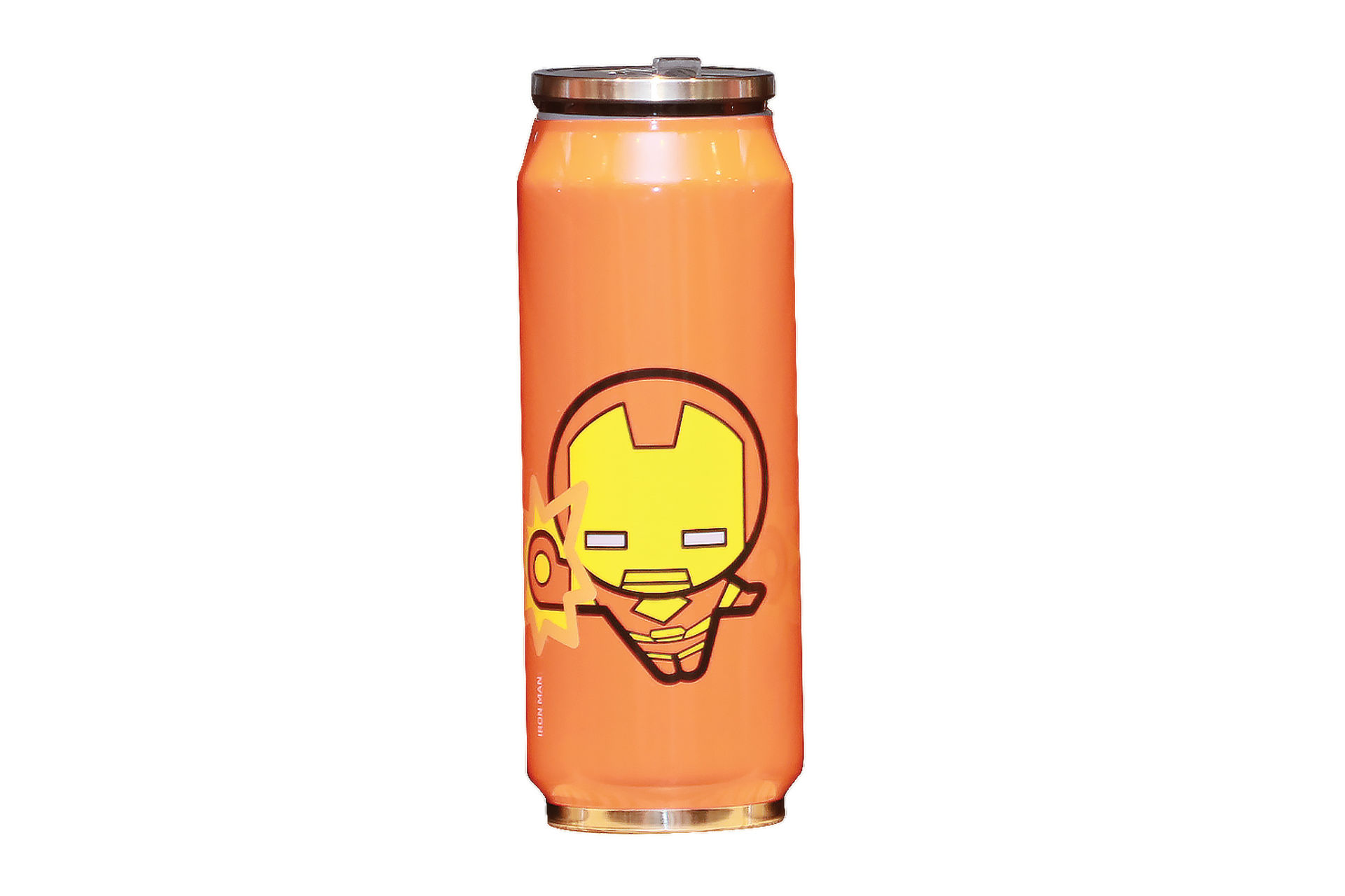 orange water bottle with Iron Man decal