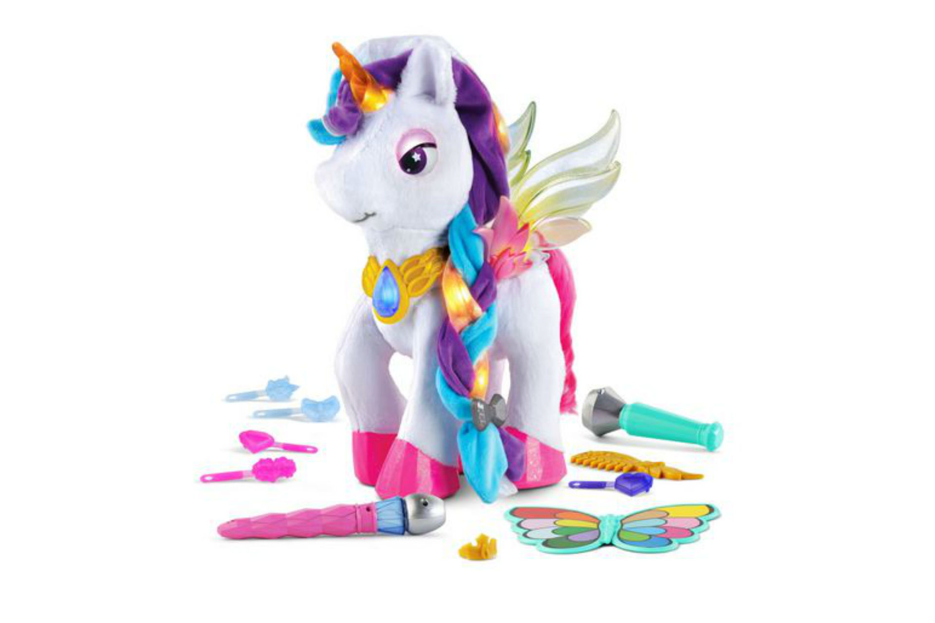 unicorn with rainbow hair and accessories