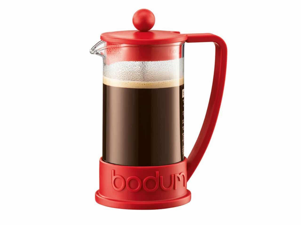 red bodum coffee press