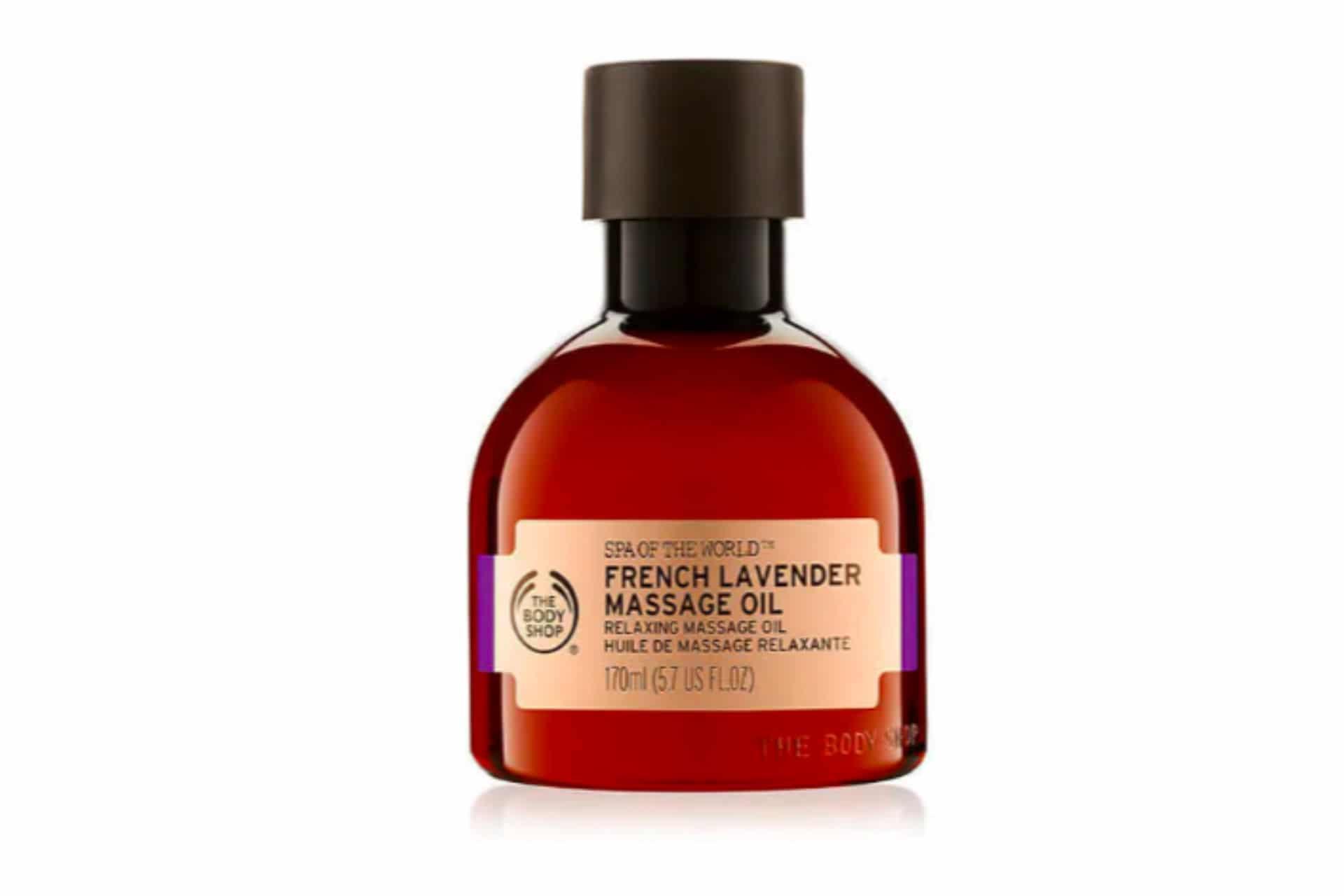 bottle of lavender massage oil