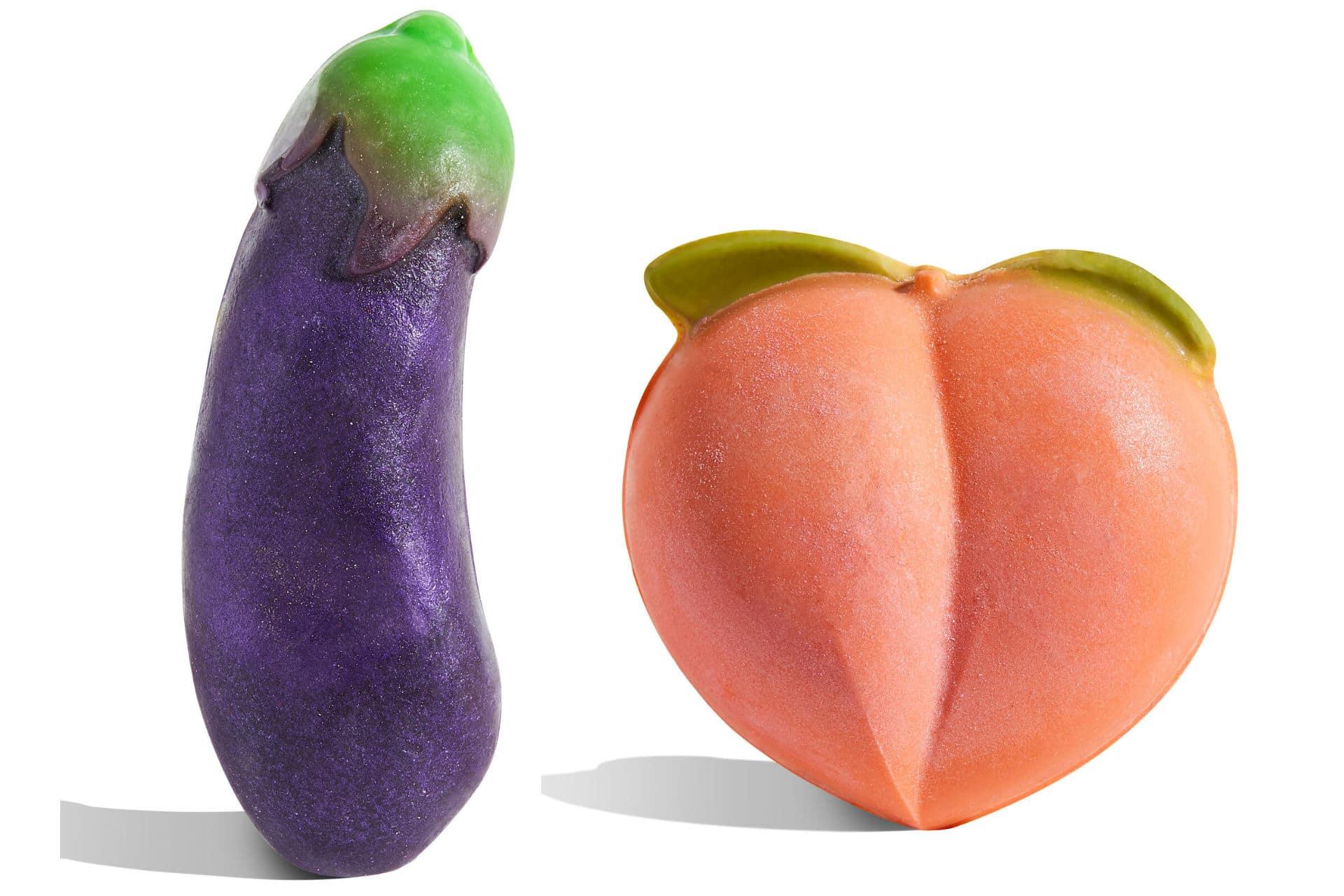 peach and eggplant emoji-shaped soaps