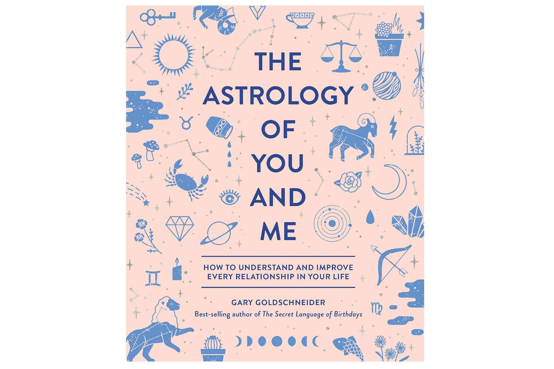 Book that says The astrology of you and me with illustrations of zodiac signs