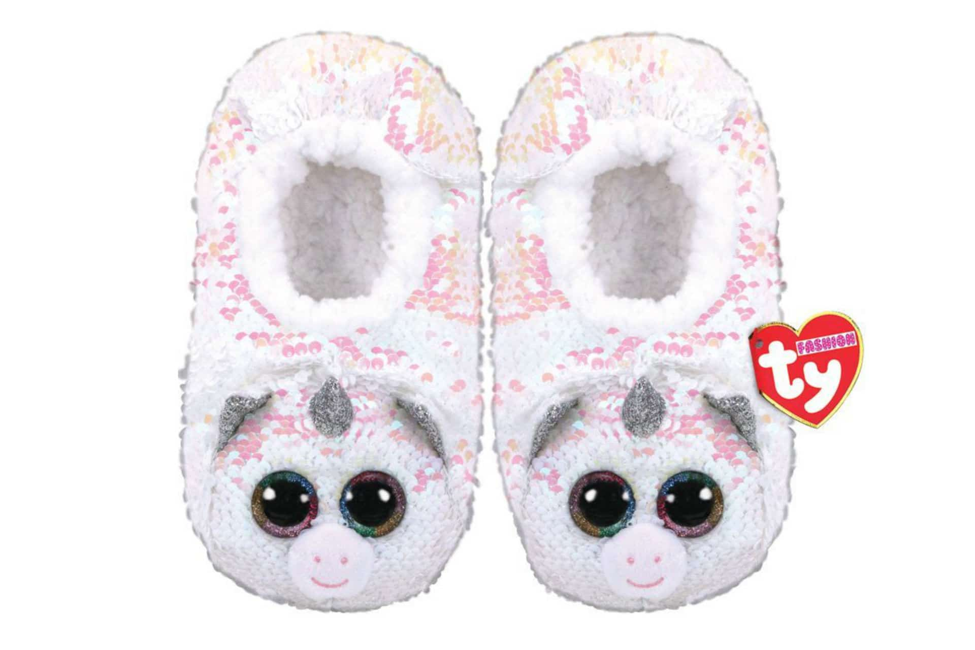 pair of sequin-covered unicorn slippers