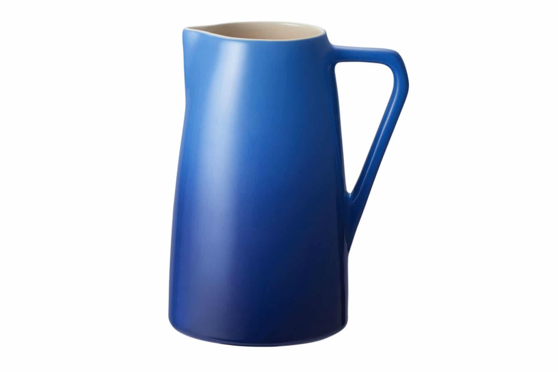 blue ceramic pitcher