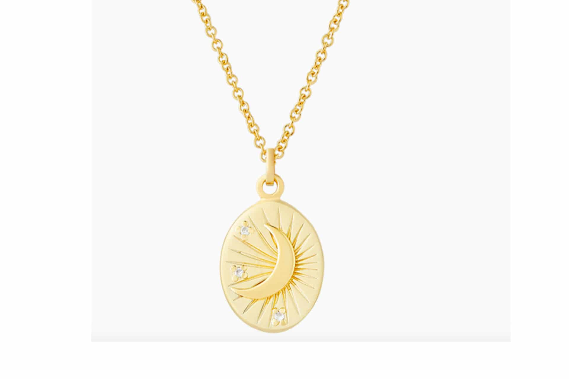 gold necklace with a moon