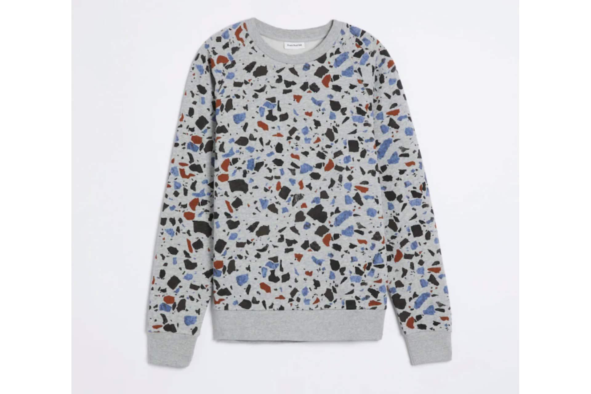 grey sweatshirt in terrazzo pattern