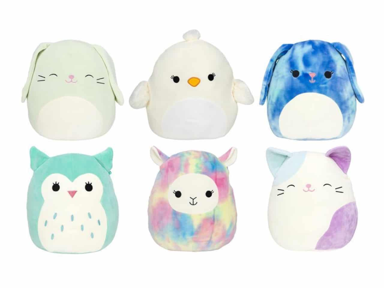 Plush Easter-themed round toys in shape of bunnies, chicks, lambs, owls and kitties