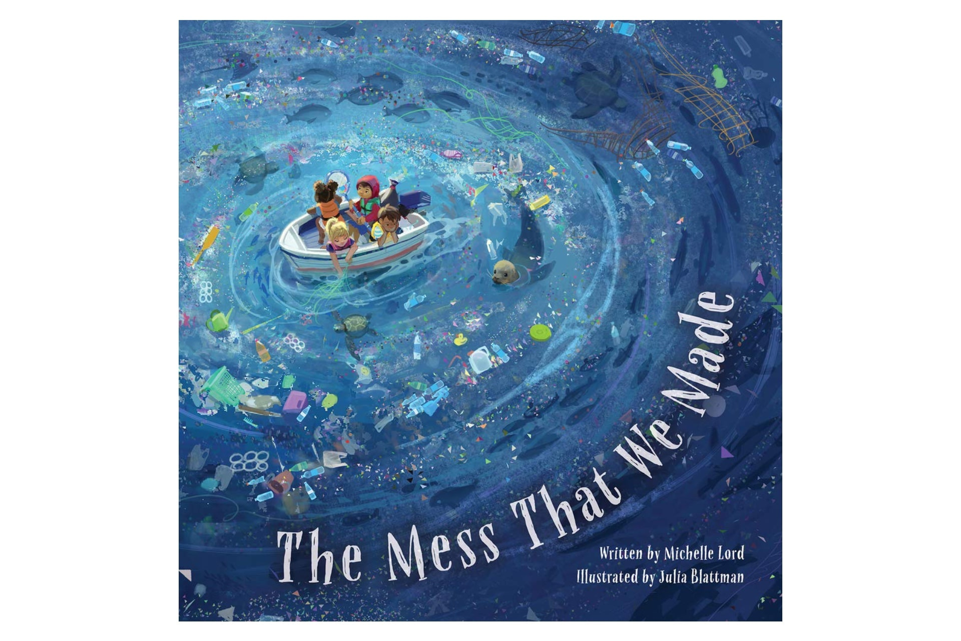 book cover with kids in a boat with garbage-filled water below