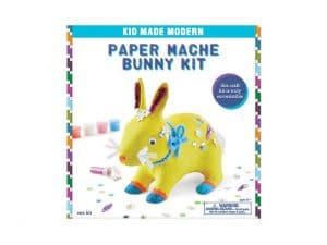 craft kit of a paper mache bunny with accessories to decorate
