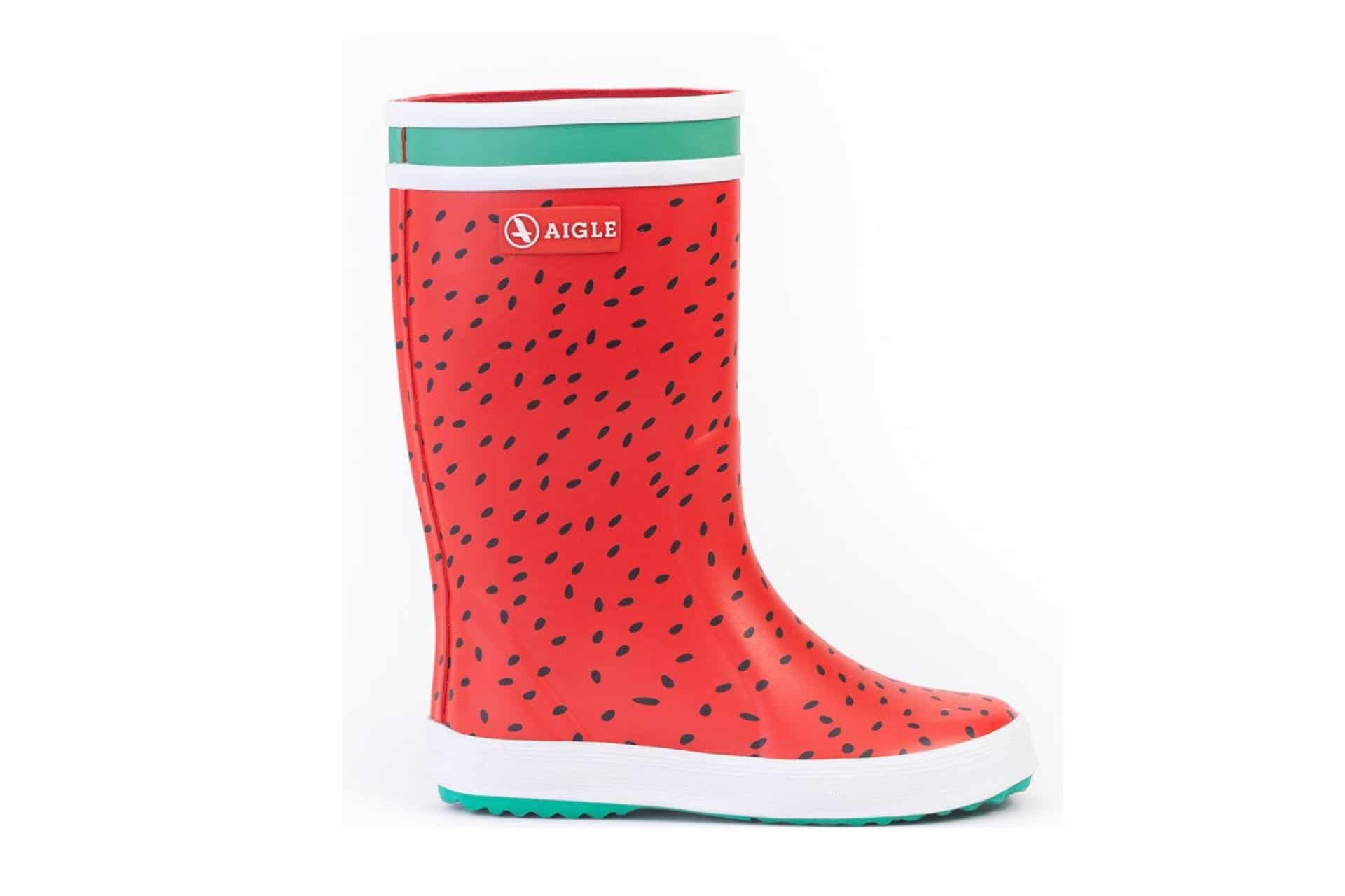 red rain boots that look like watermelons