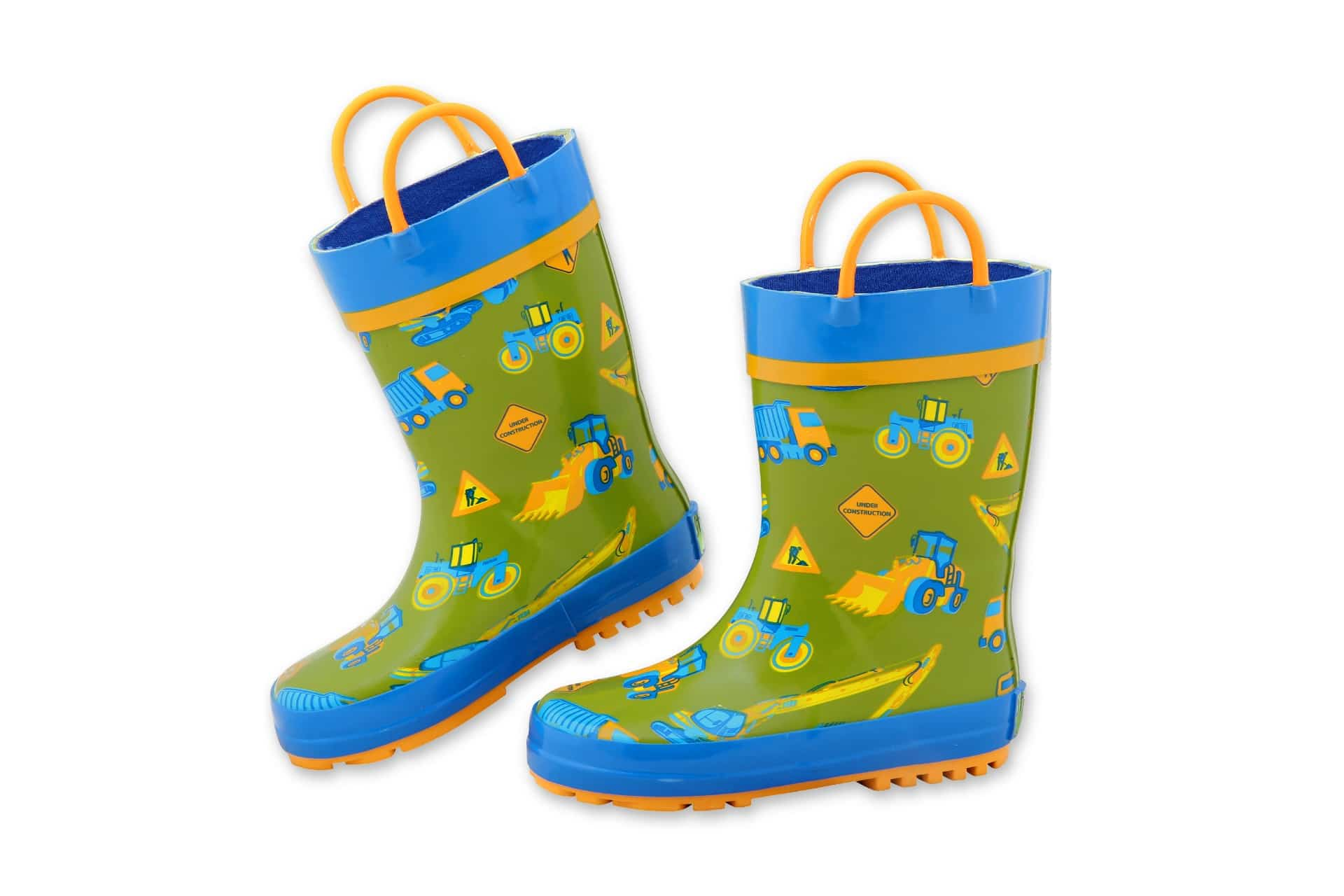 Green and blue rain boots with straps