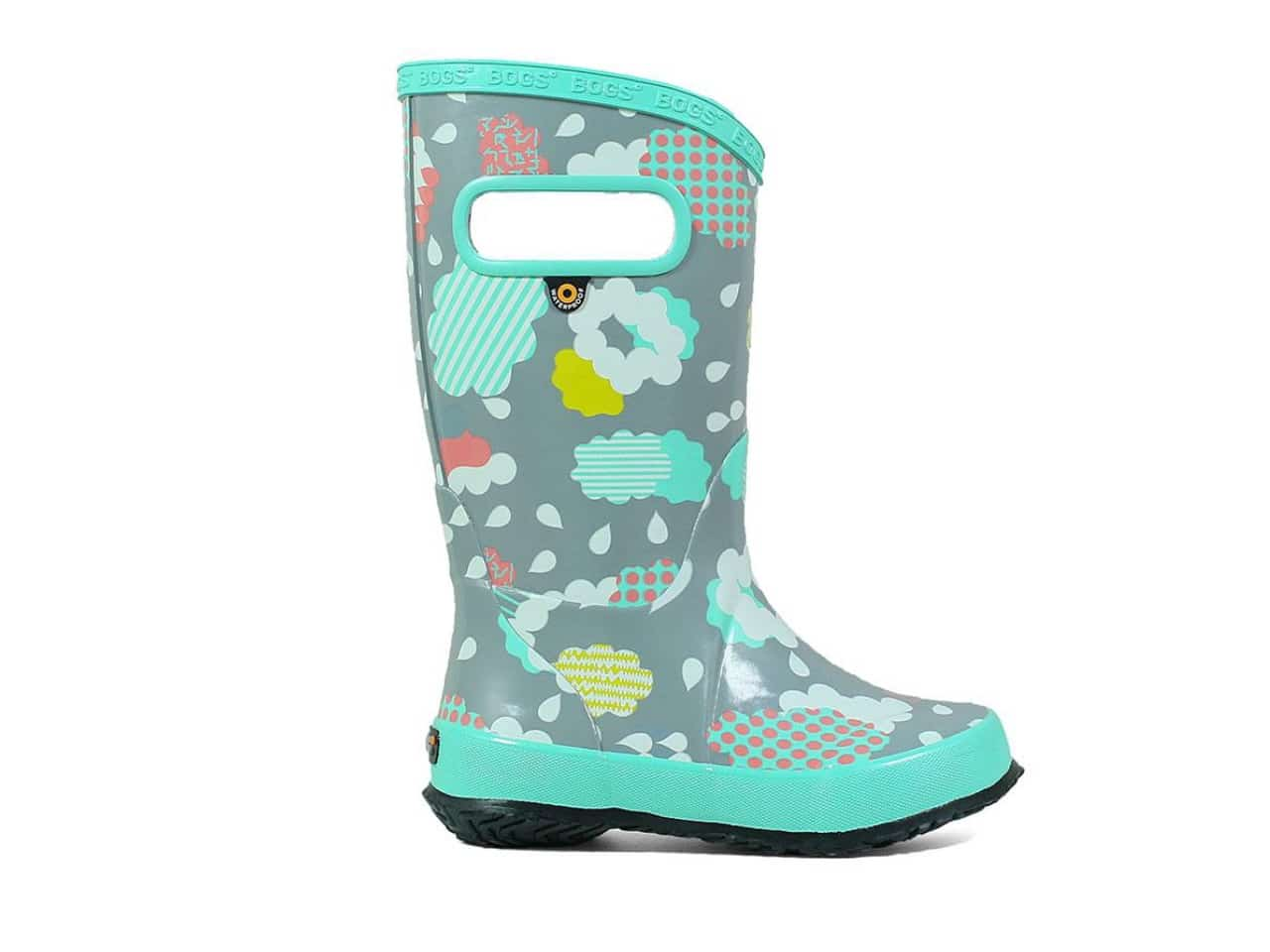 grey and teal rain boots