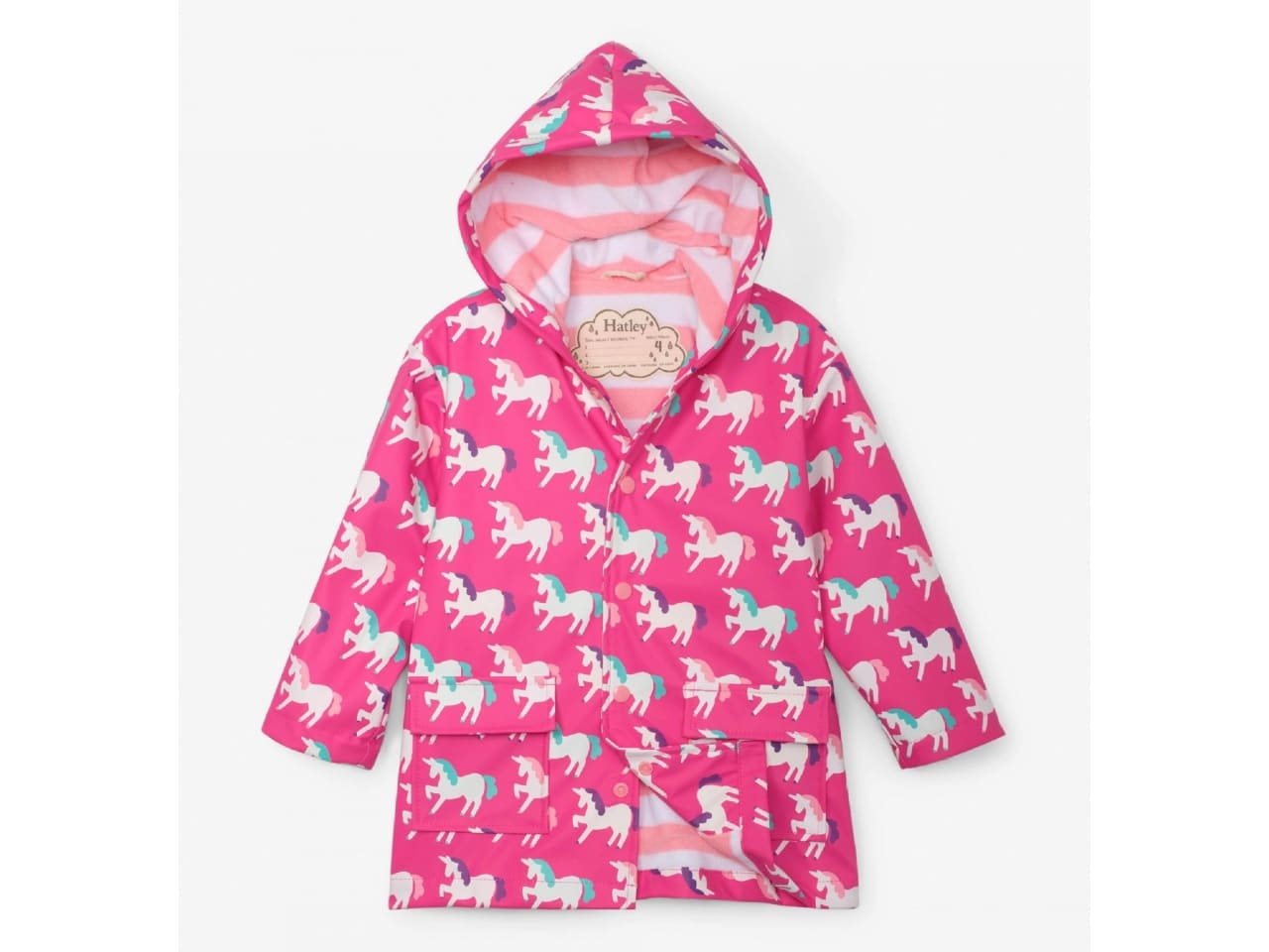 pink rain coat with unicorns