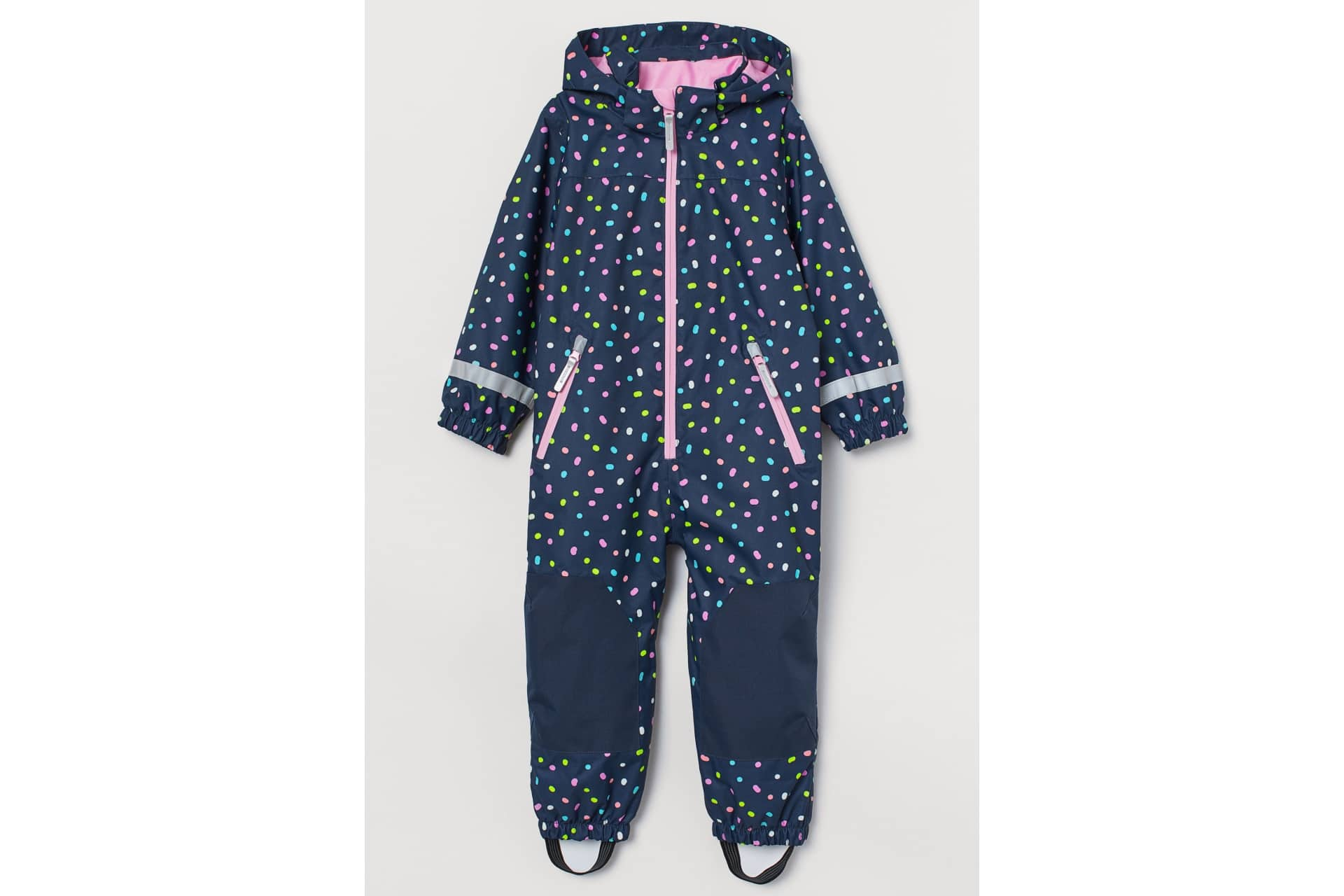 blue and pink polkadot one-piece rain suit