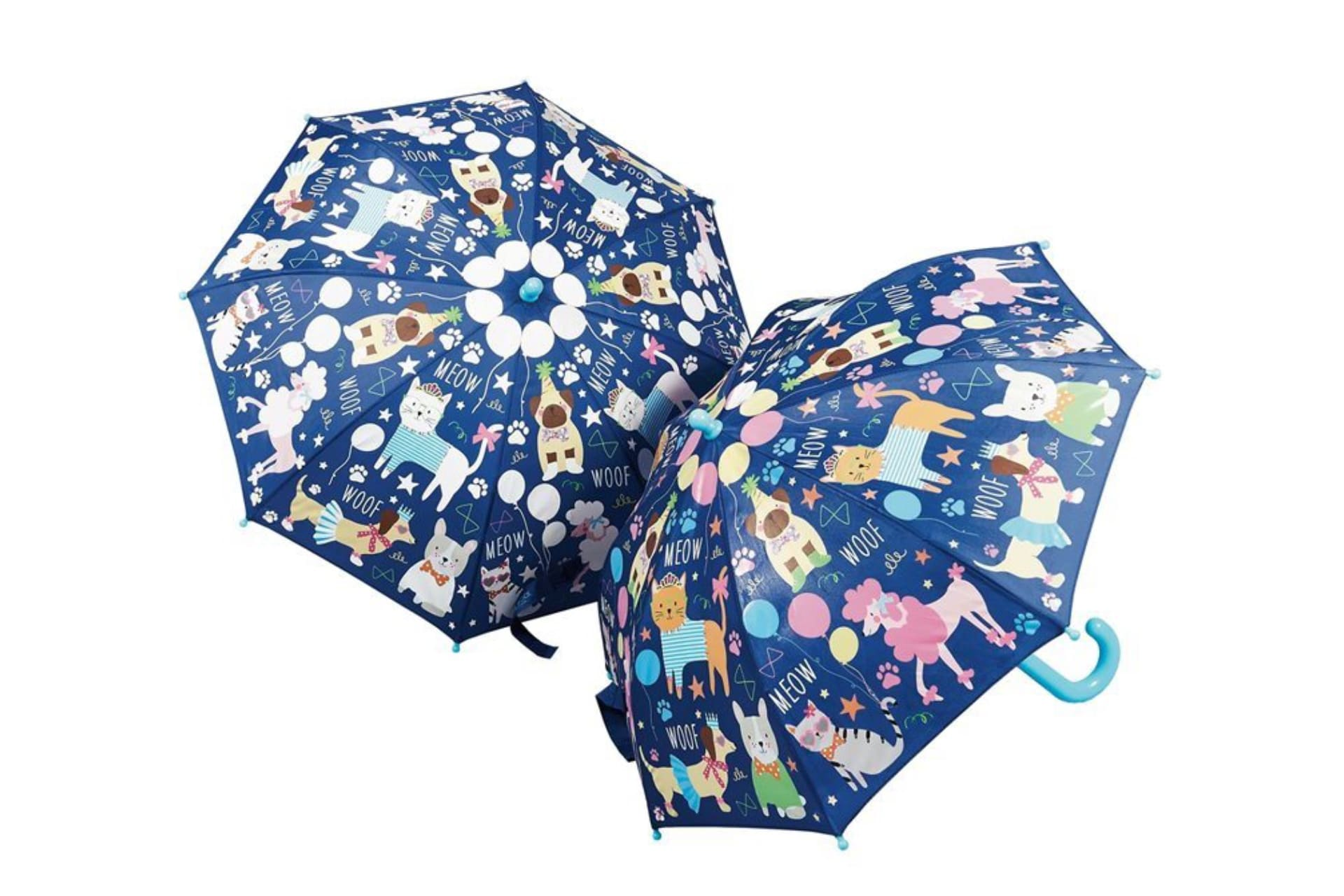 blue umbrellas with cats and dogs