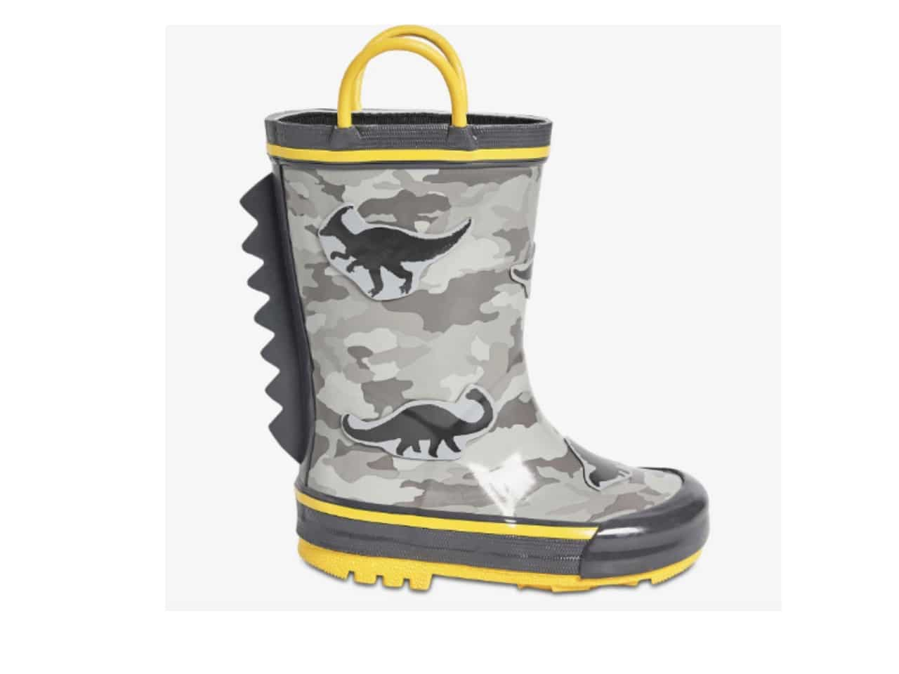 grey and yellow rain boot with dinosaurs
